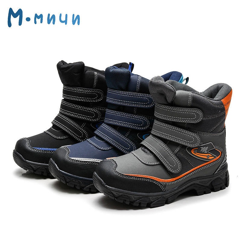 MMNUN 2018 Warm Ankle Winter Boots For Boys Anti-slip Kids Boys Winter Shoes Waterproof Snow Boots Aged 7-14 Size 32-37 ML9271