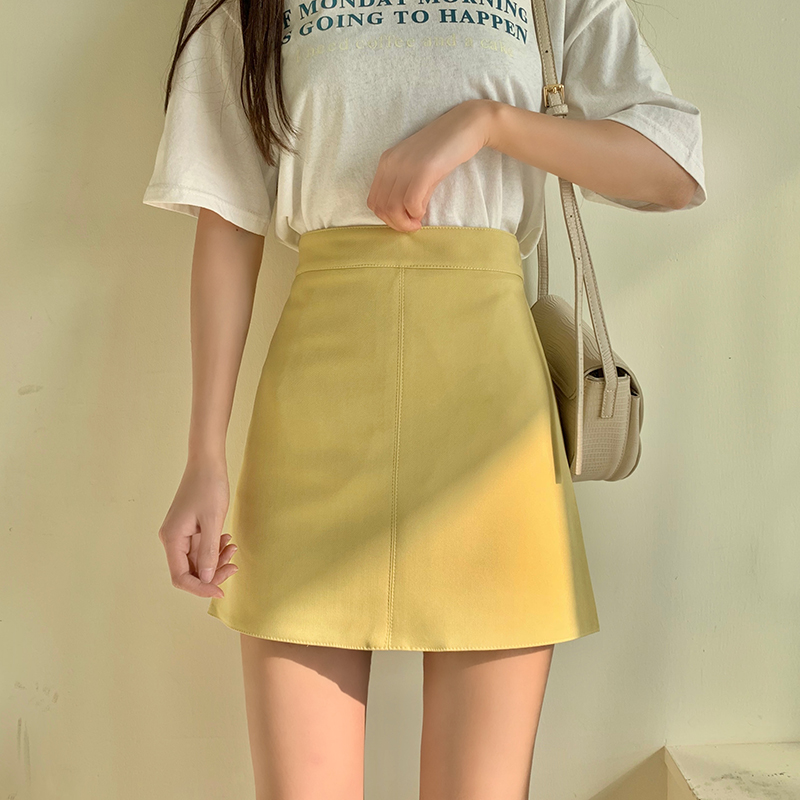 A-line Mini Short Skirts Women 2020 Spring And Summer Solid Yellow Green Khaki Casual Preppy Skirt