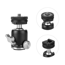 "Multi function Mini Ballhead Ball Head 360 Panorama Head + Hot Shoe Base Mount 1/4"" Screw for Camera DSLR Light Video Microphone"