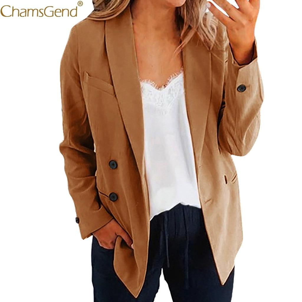 Women Blazer Long Sleeve Office Wear Coat Solid femaleLadies Solid Turn Down Collar Coat Parka Outerwear Winter Coat Women Aug