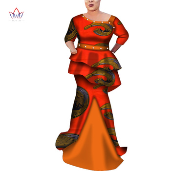 Elegant African Half Sleeve Tops and Skirt Sets for Women Bazin Riche Patchwork Peals African Clothing 2 Pieces Skirt Set Wy7002