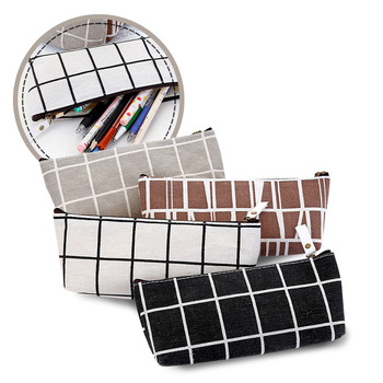 Kawaii Pencil Bag Simple Striped Canvas Pencil Bag, Creative Male And Female Student Pencil Case, Grid Schools & Offices 002