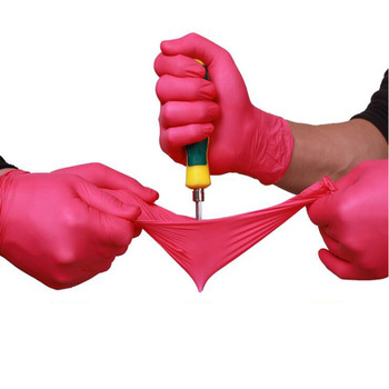 Disposable Latex Nitrile Gloves Universal Cleaning Work Finger Gloves Protective Home Food For Safety Rose Red Gloves LS012