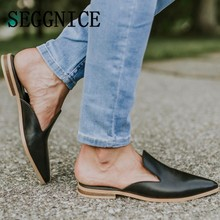 Women Low Heel Flat Shoes Leather Fashion 2019 Women's Shoes Pointed Toe Slip On Summer New Casual Shoes Slippers Plus Size Fall fashion summer spring leisure flat with denim pointed toe snug inside embroided women slippers drop ship size 9 11 women shoes