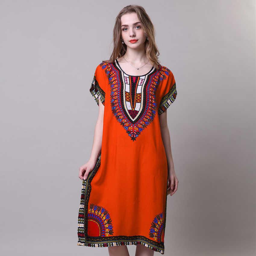 Loose אפריקאי שמלת לנשים דאשיקי שבט טוטם 3D הדפסת ארוך גלימה בתוספת גודל נקבה ריש Bazin רחוב ללבוש Vestido שמלה