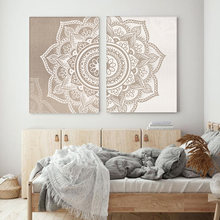 Bohemia Mandala Floral Beige Wall Art Print Poster Picture Canvas Painting Living Room Home Interior Yoga Room Decor No Frame