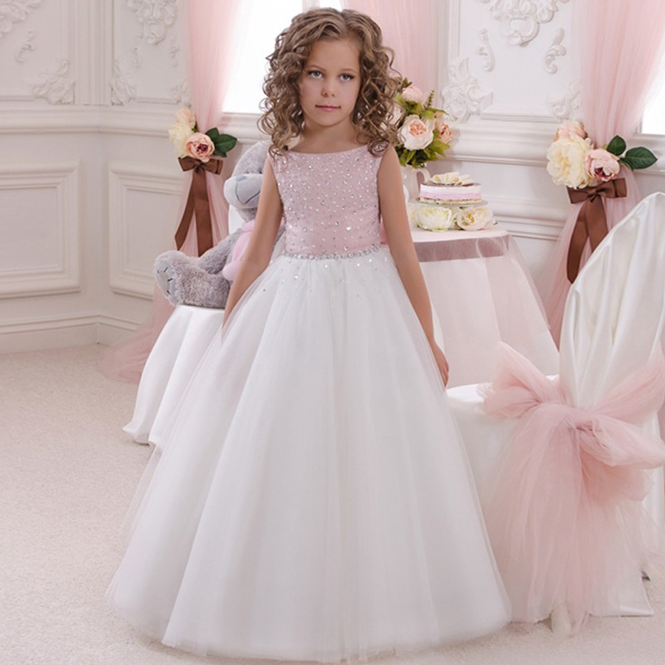 Cute 2019   Flower     Girl     Dresses   For Weddings A-line Tulle Beaded Crystals Bow Long First Communion   Dresses   Little   Girl