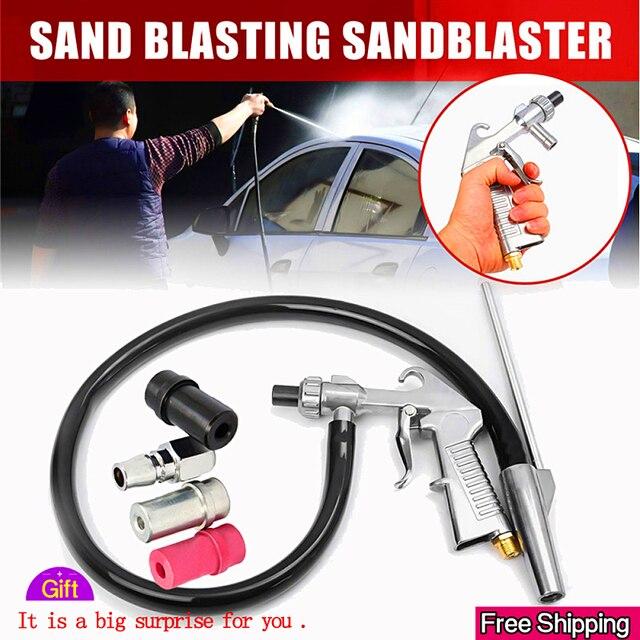 התזת חול אקדח 7Pcs שוחק אוויר חול פיצוץ אקדח ערכת התזת חול מכונה זרבובית צינור חלודה להסיר עבור Sandblast Cabinets2019