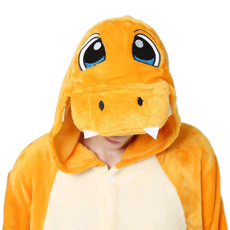 2019 Halloween Volwassen Charmander Dinosaurus Pokemon Kigurumi Cosplay Kostuum Vrouwelijke Outfits Bodysuits Vrouwen Onesie Capuchon Pyjama