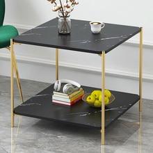 Журнальный столик для гостиной, диван-столик, Мраморная текстура, деревянный двухслойный квадратный столик, маленький столик, мебель для дома