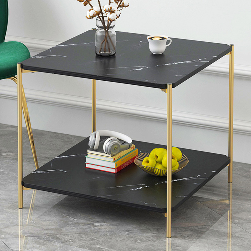 Coffee Table Living Room Sofa Side Table Marble Texture Wood Double Layer Square Table Small End Table Home Furniture