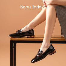 Loafers Women Flat-Shoes Beautoday Buckle Slip-On Casual Ladies Square Toe A27124 Heel