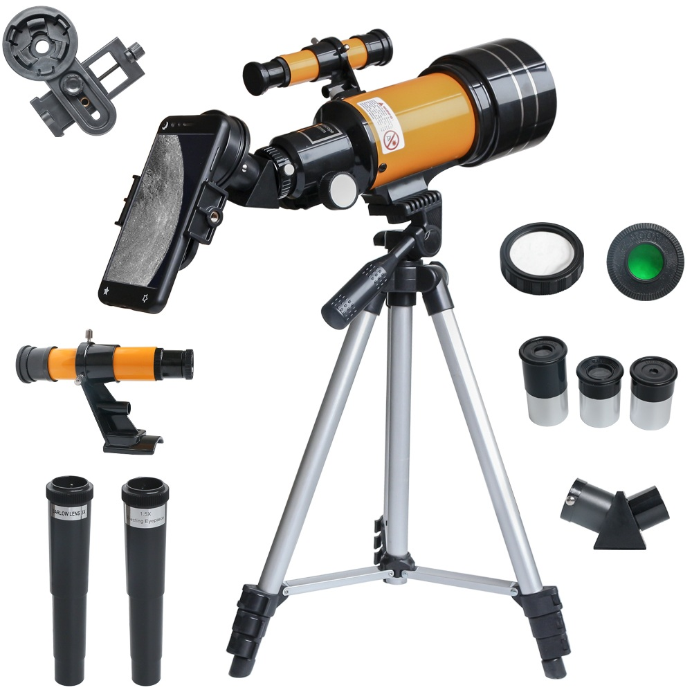 150X Refractive  Astronomical Telescope With Phone Clip Outdoor HD Night Vision 150X Telescope Kids Student Present DIY Kit