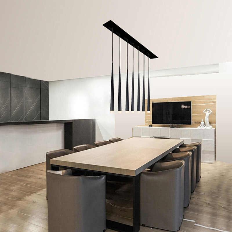 โมเดิร์น Led บันไดโคมระย้าอลูมิเนียมสีดำ Conical ยาวบันไดโคมระย้าโคมไฟระงับไฟเกลียว Gloss