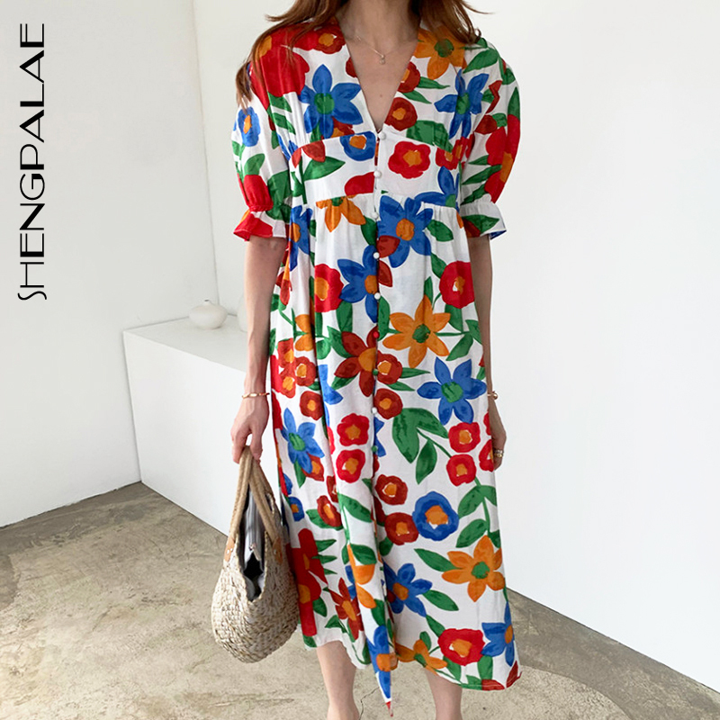 SHENGPALAE 2020 New Women Vintage Loose High Waist Slim Was Thin Elegant Color Flower V-neck Single Breasted Maxi Dress ZA4575