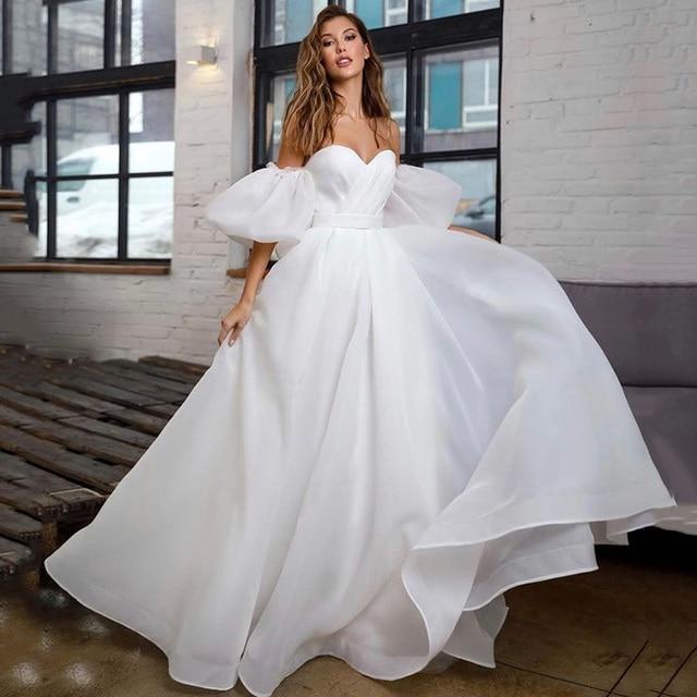 Princess White Wedding Dress Puff Short Sleeve Plus Size Bridal Dresses Lace up Back A Line Cheap Wedding Gowns Vestido de Noiva 1