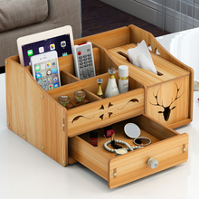 Wooden Desk Makeup Organizer Cosmetic Organizer Storage Box With Drawer For Bathroom Dresser 5 Slots For Brushes Eyebrow Lips