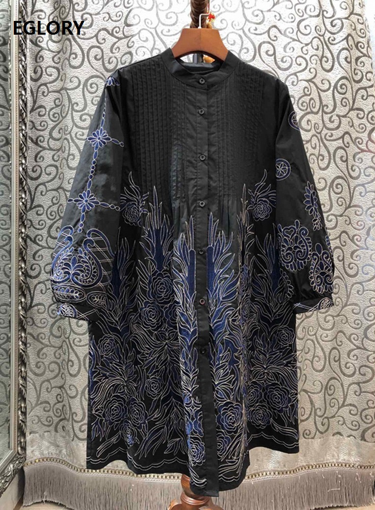 High Quality Cotton Dress 2020 Spring Style Women Exquisite Embroidery Long Sleeve Tunic Buttons Casual Long Shirt Dress Loose