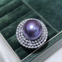 D326 Pearl Ring Fine Jewelry 925 Sterling Silver Natural 12 13mm Fresh Water Purple Pearl Rings for Women Fine Presents