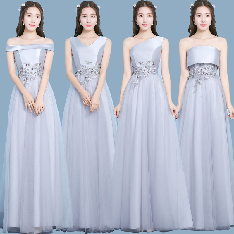 Gray Embroidery Junior Bridesmaid Dress Pink Elegant Plus Size Taffeta A Line Formal Sister Wedding Party Dress Long Prom Sexy
