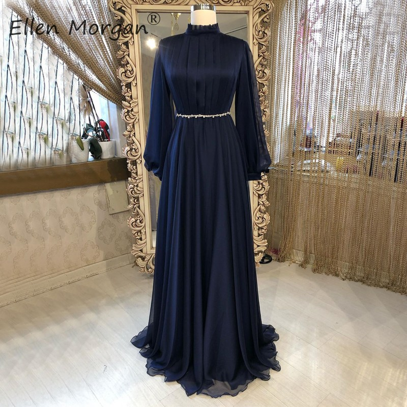 Navy Blue Chiffon Arabic Long Sleeves Evening Dresses Party Elegant For Women High Neck Real Photos Vintage Formal Gowns 2020