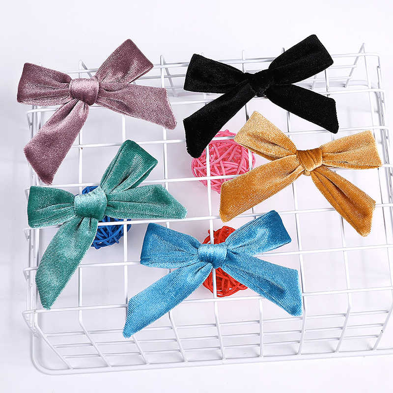 Kids Baby Velvet Knotted Bow Hairpin Girls Boy Barrettes Hair Clip Solid Color Baby Children Hair Clip Soft Hair accessories Hot
