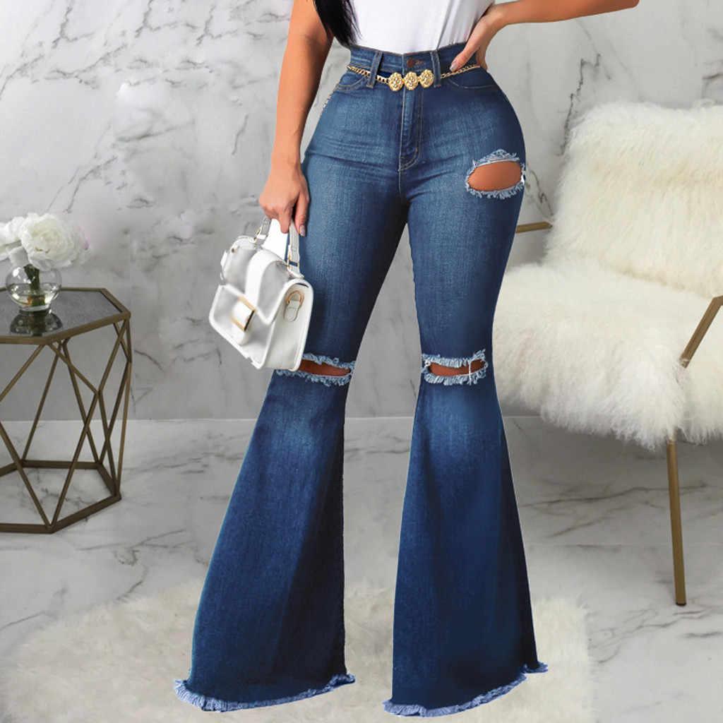 Las Mujeres Sexy Jeans Agujero Gran Llamarada Pantalones Ajustados Oficina Larga Dama Elegante Fiesta De Graduacion De Pierna Ancha Casual Pantalones De Mezclilla Pantalones De Campana Pantalon Pantalones Vaqueros Aliexpress