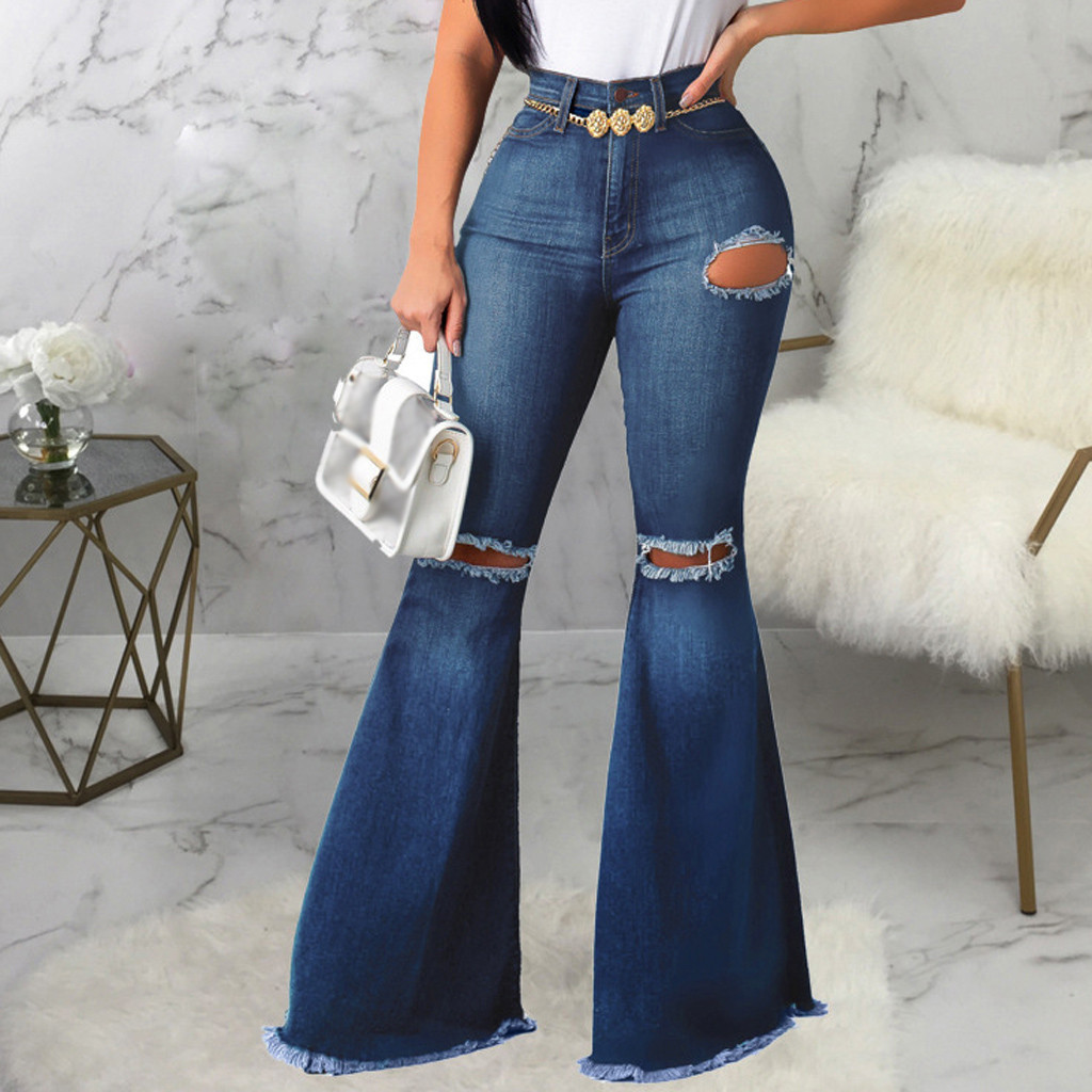Women Sexy Hole Jeans Big Flare Skinny Pants Long Office Lady Elegant Party Prom Casual Wide Leg Denim Trousers Bellbottoms Pant