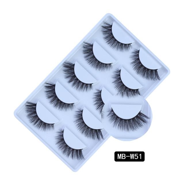 NEW 5 pairs Mink Eyelashes Set 3D 100% False Lashes Makeup Eyelash Extension faux cils Natural fluffy Volume Soft Fake Eye Lashe 4