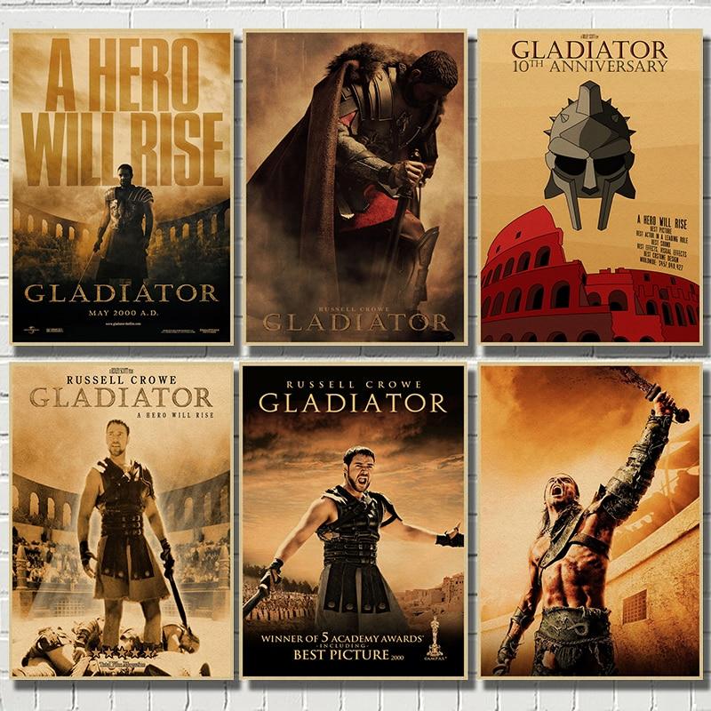 Gladiador clássico filme kraft papel poster bar café sala de estar jantar parede pinturas decorativas