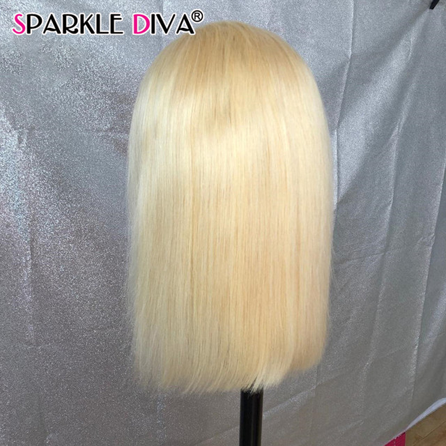 613 Blonde Short Bob Wigs Lace Front Human Hair Wigs Pre Plucked With Baby Hair Brazilian Straight Remy Hair 5*1 Lace Bob Wig 3