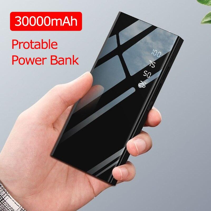 30000mAh Power Bank Mirror PowerBank Battery Charger LCD Dual USB Power Bank For IPhone X 8 7 6s Xiaomi Huawei P20 Lite