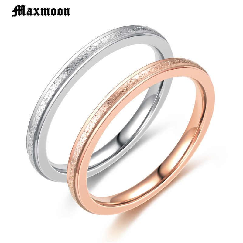 Maxmoon Moda Matagal Simples 2 mm de Largura das Mulheres Anéis de Aço Inoxidável Cor de Rosa de Ouro Dedo Jóias Presente Para Menina