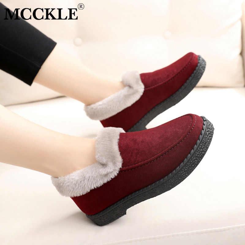 MCCKLE kadınlar sıcak kış ayakkabı düz kadın moda süet dikiş bayanlar platformu kısa kürklü peluş kadın ayakkabısı konfor ayakkabı