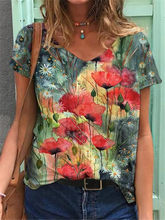 Primavera feminina casual camiseta 2021 nova moda flor pintado solto senhora roupas de manga curta com decote em v plus size camiseta feminina topo