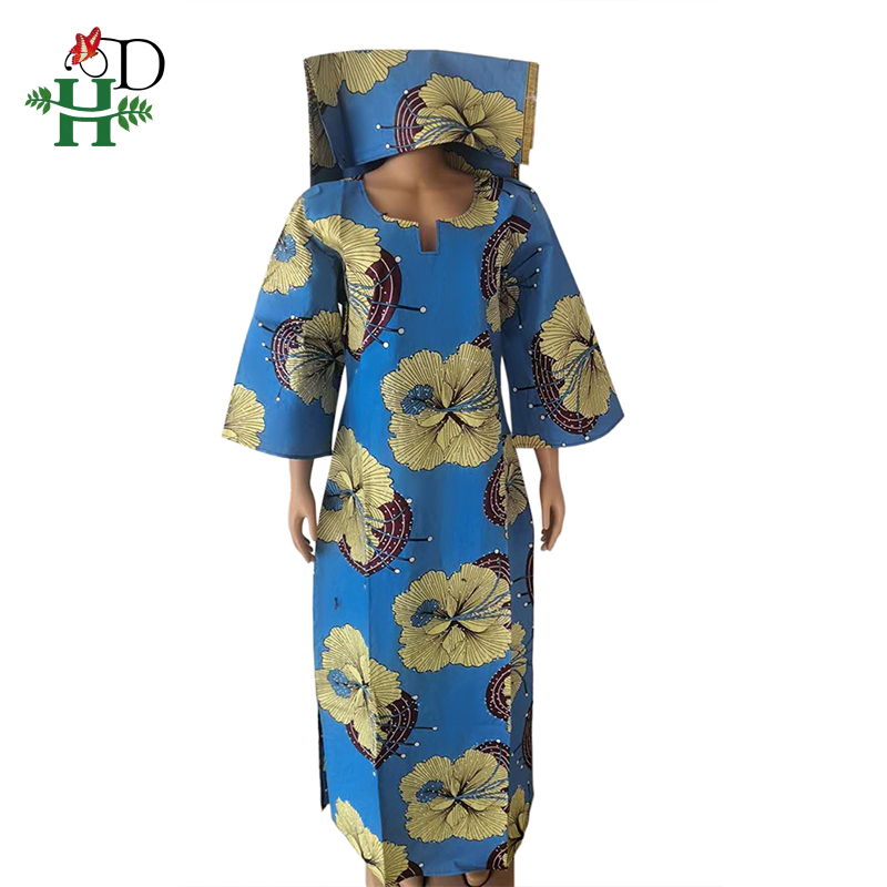 H&D Ankara Wax Women Dresses Bazin Riche Dashiki Long Dress Ladies African Print Flower Dress Scarf Suit 2020 Boubou Woman S3002