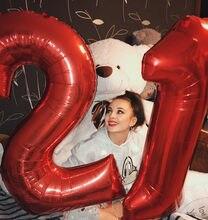 Bolas de hélio conraladoras, 2 peças, 30/40 polegadas, números vermelhos, preto, 18, 25, 30, 50 anos de idade, adulto, festa de aniversário materiais de decoração