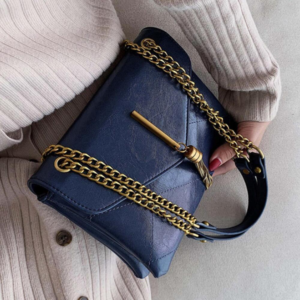 Vintage Fashion Female Tote bag 2019 Fashion New Quality PU Leather Women's Designer Handbag Tassel Chain Shoulder Messenger Bag