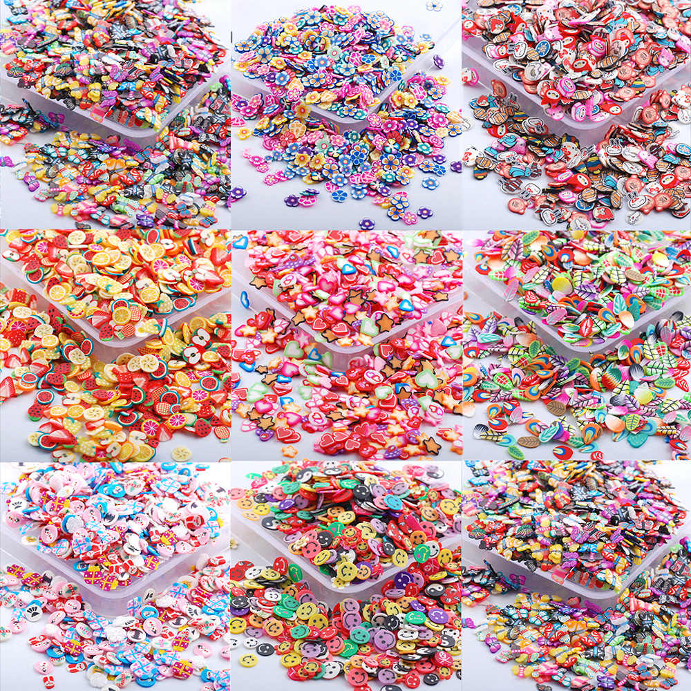 1000Pcs 5mm Gemengde Cartoon Polymeer Klei Plaksteen Cabochon Scrapbooking Craft Decoraties DIY Versieringen Voor NAIL Sticker