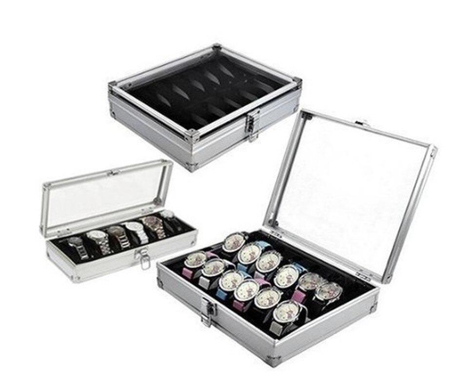 6/12 Grid Slots Watch Box Convenient Light Watch Winder Jewelry Wrist Watches Case Holder Display Storage Box Aluminium Organize
