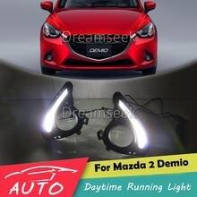 DRL para Mazda 2 Demio 2015 2016 LED relé de luz de circulación diurna de coche impermeable conducción niebla día lámpara de luz diurna