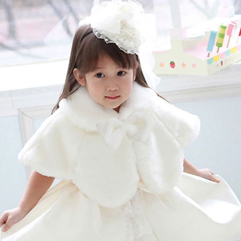 Flower Girls Double Layer Thickn Plush Bolero Shrug Princess White Shoulder Cape Wedding Dress Shawl Wrap Stole Cute Bowknot