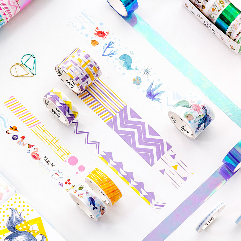 6 Pcs Colorful Laser Mixing Washi Tape Set Geometric Masking Tape DIY Stickers Scrapbooking Cute Stationery Gifts For Kids