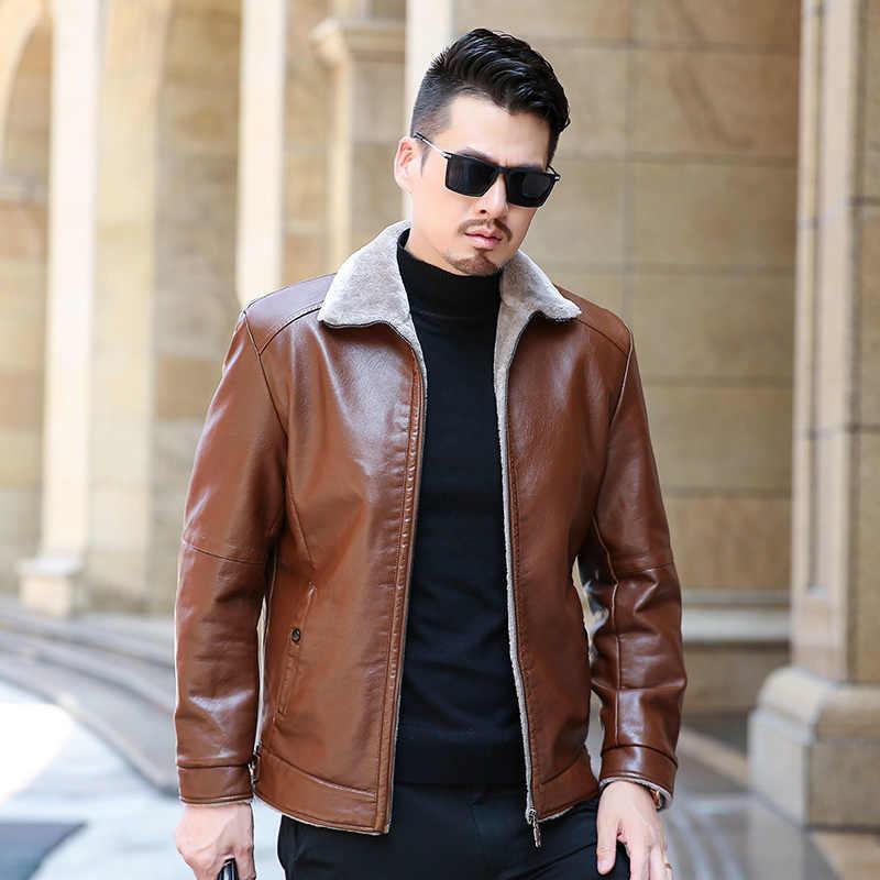 גבוהה באיכות חורף אמיתי עסקי מזדמן עור מעיל גברים אופנה מותג חום כבש מעילים ומעילים עם צמר בטנה