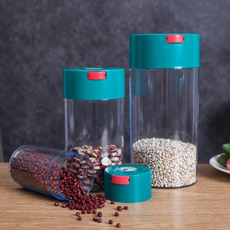 3Pcs Kitchen Food Storage Container Set -Coffee Beans Candy Box Fruit Fresh Saver Grain Transparent Sealed Cans(S,M,L) 2