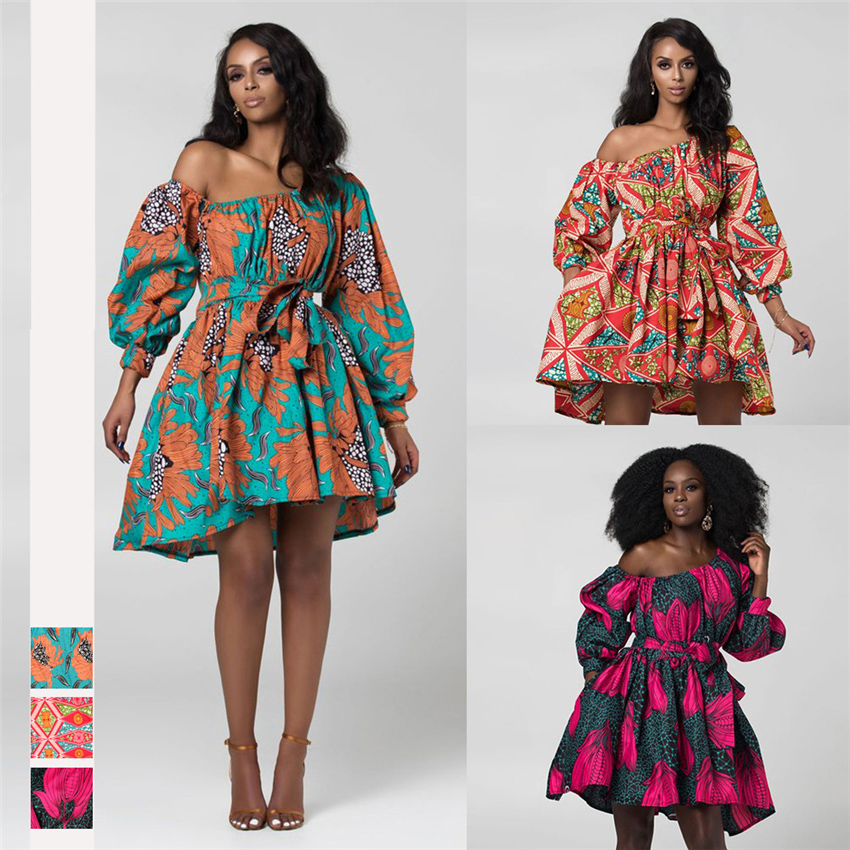 2020 News Fashion African Dresses For Women Summer Tilting Shoulder Two Wear Dashiki Africa Style Rich Bazin Dashiki Print Top