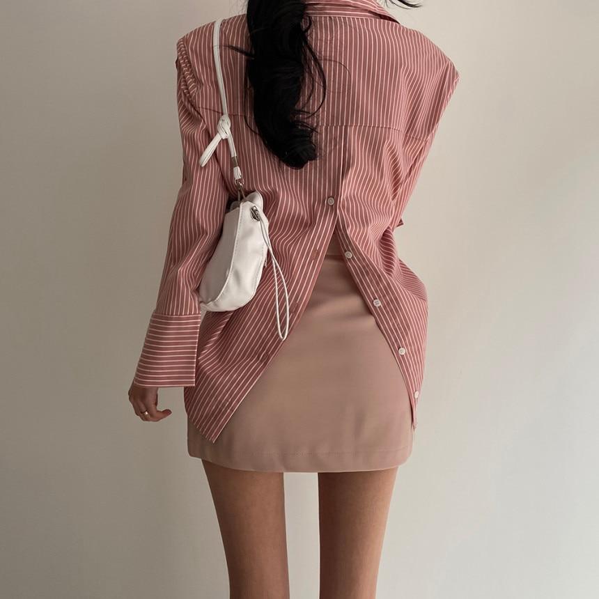 H0f8ed85a469a42b5ab965b9264022a13n - Spring / Autumn Turn-Down Collar Long Sleeves Back Slit Loose Striped Blouse