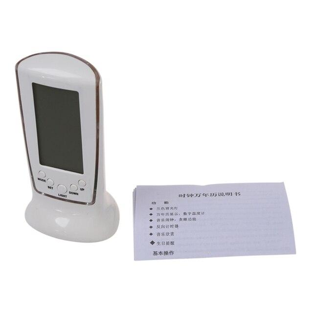 HOT-Wooden Clock Digital LED Desktop Alarm Clock