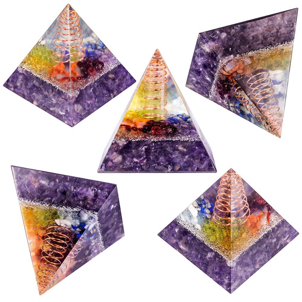 Fully Orgone  7 Chakra Pyramids /& 7 Orgone Points Healing Energy Generator