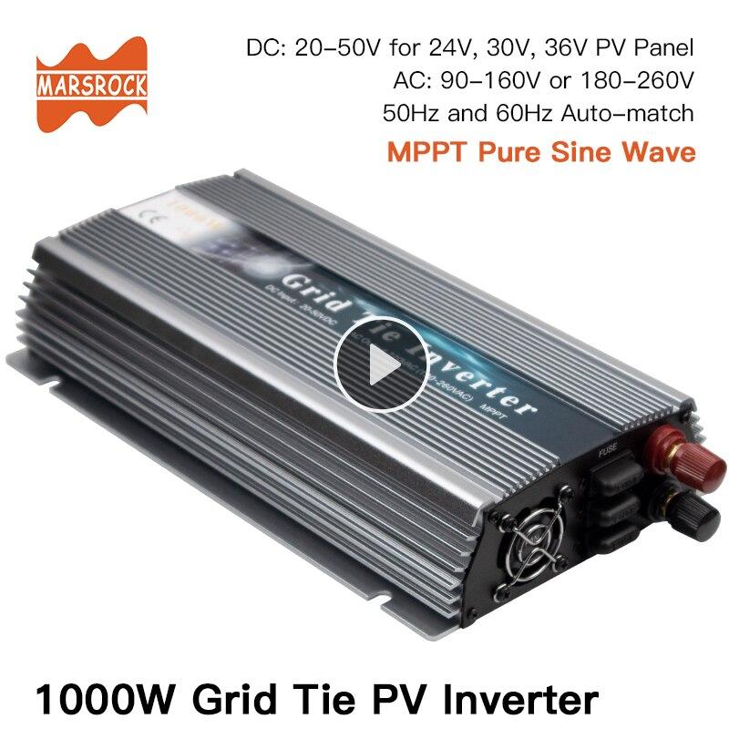 1000W On Grid Tie Solar Inverter, 20-50V DC to AC 80-260V Pure Sine Wave Inverter for 1000-1200W 24V, 30V, 36V PV or Wind Power
